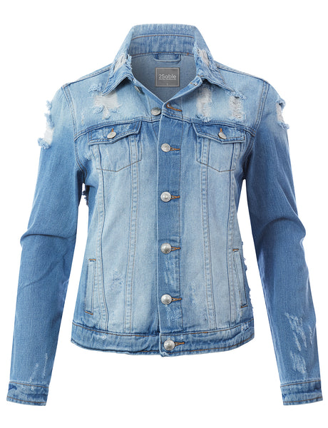 Womens Cotton Long Sleeve Vintage Distressed Ripped Denim Jean Jacket (WJC4738)