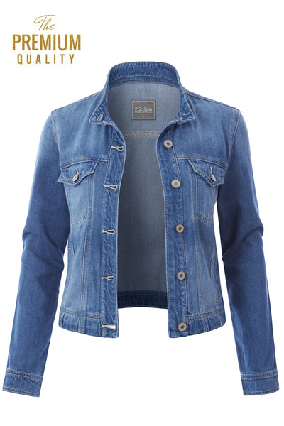 Womens Vintage Cotton Long Sleeve Collarless Denim Jean Jacket with Pockets (WJC4748)