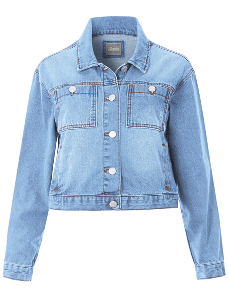 Womens Boxy Cropped Denim Jacket with Pockets (WJC4754)