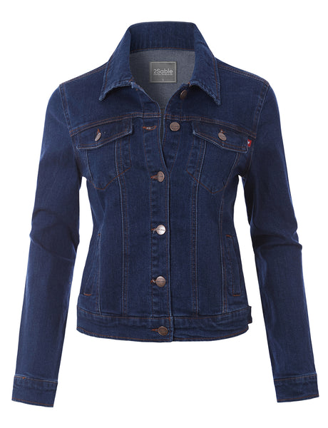 Womens Long Sleeve Button Down Slim Fit Denim Jacket with Stretch (WJC4758)