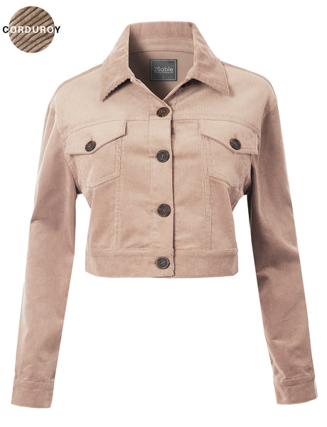Womens Crop Long Sleeve Button Down Corduroy Jacket with Stretch (WJC4761)