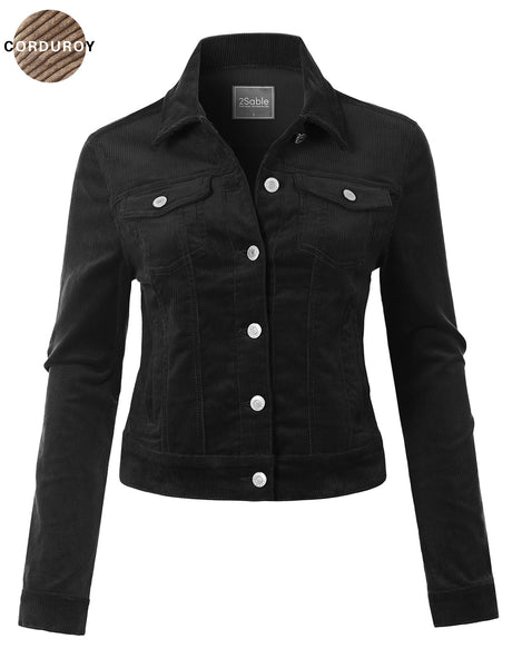 Womens Classic Long Sleeve Button Down Corduroy Jacket (WJC4764)
