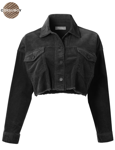 Womens Oversized Crop Long Sleeve Button Down Corduroy Jacket with Stretch (WJC4771)
