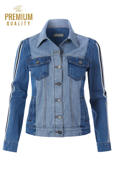 Womens Casual Contrast Long Sleeve Button Up Denim Jacket with Stripes (WJC4776)