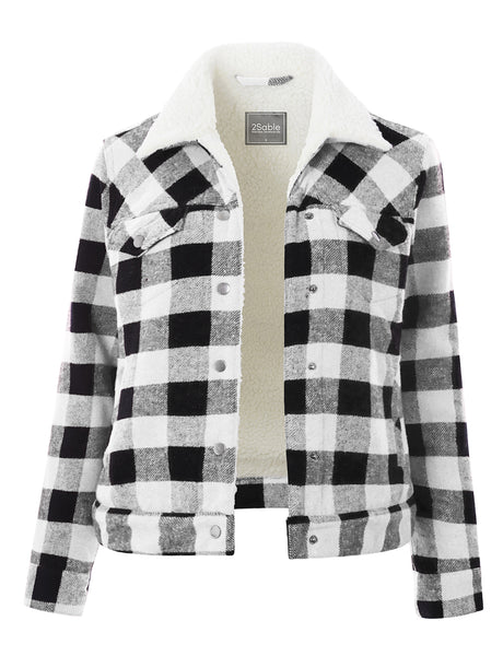 Womens Long Sleeve Gingham Faux Fur Sherpa Lined Trucker Jacket (WJC4806)