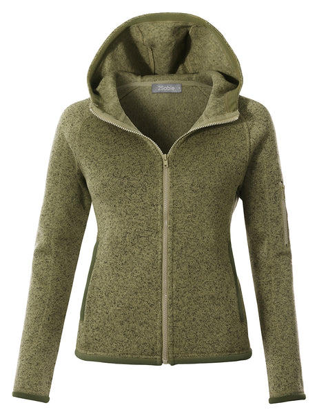Womens Knit Fleece Zip Up Hoodie Jacket with Pockets (WJC4807)