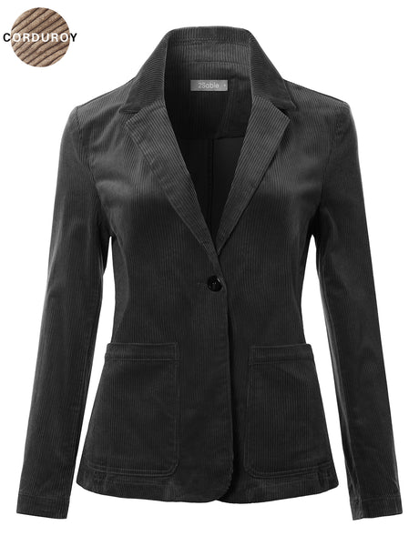 Womens Classic Lightweight Long Sleeve Corduroy Boyfriend Blazer Jacket (WJC4813)