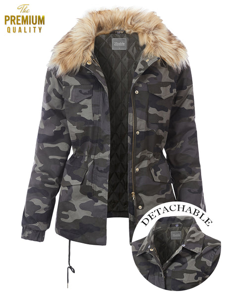 Womens Puffy Camo Military Anorak Jacket with Removable Faux Fur Collar (WJC4838)