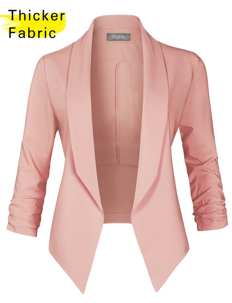 Womens Open Front Cinched 3/4 Sleeve Solid Blazer Jacket (WJC4848)