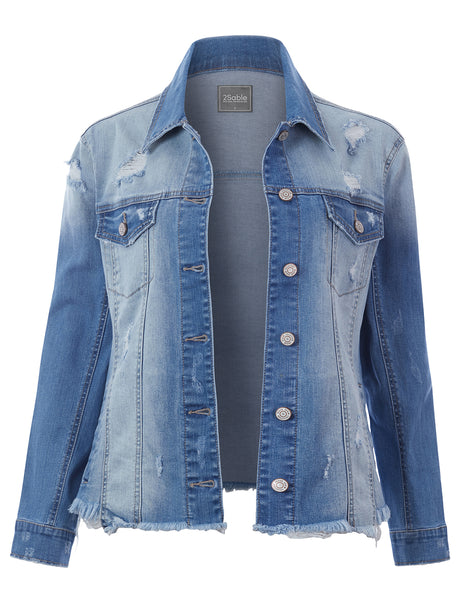 Womens Oversized Destructed Frayed Boyfriend Denim Jacket with Pockets (WJC4853)