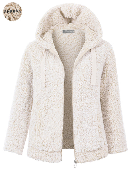 Womens Full Zip Up Faux Fur Sherpa Hoodie Jacket with Pockets (WJC4855)