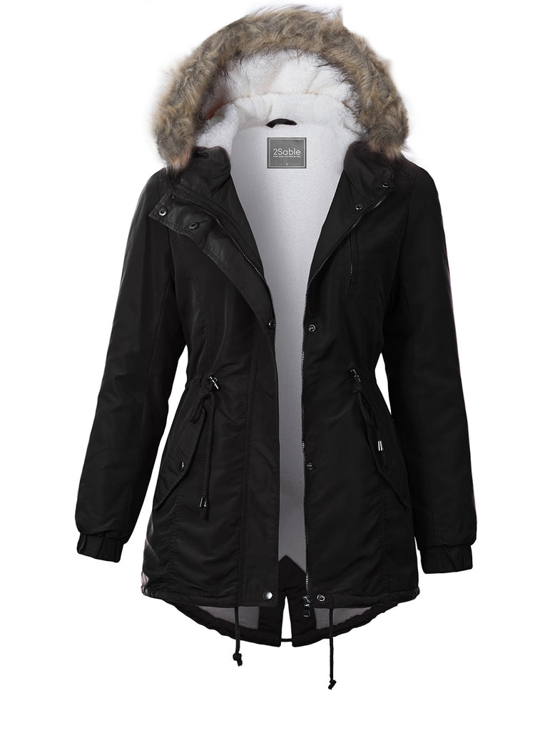 Womens Sherpa Lined Anorak Jacket with Detachable Faux Fur