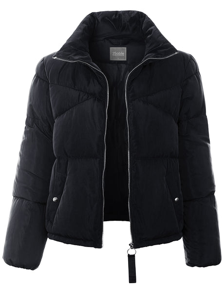 Womens High Collar Zip Up Puffer Jacket with Pocket (WJC4866-PREORDER 10/7)