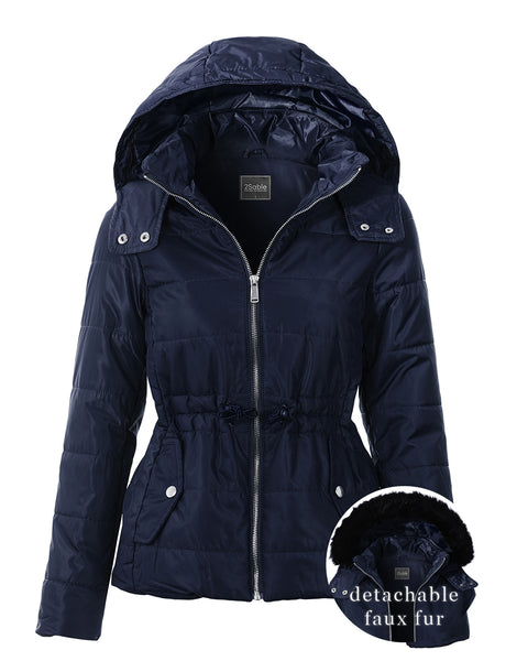 Womens Quilted Zip Up Puffer Jacket with Detachable Faux Fur Hood (WJC4868)