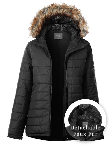 Womens Long Quilted Zip Up Puffer Jacket with Detachable Faux Fur Hood (WJC4871)