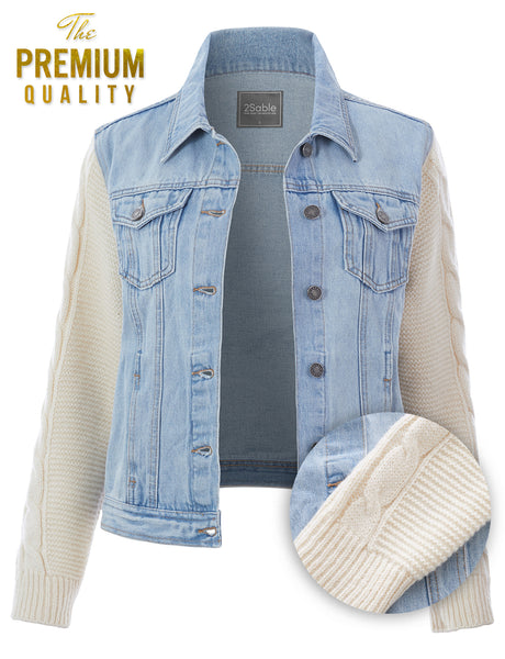 Womens Classic Stretchy Denim Jacket with Cable Knit Sleeves (WJC4872)