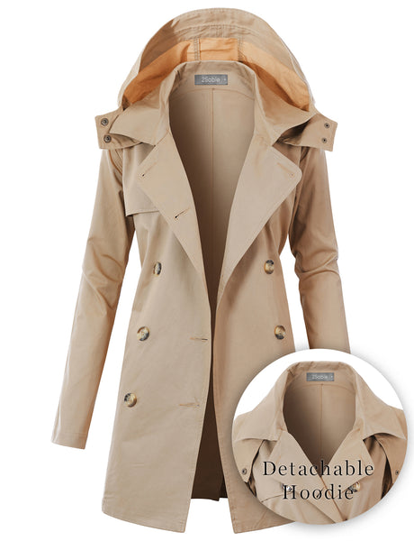 Womens Double Breast Belted Hoodie Trench Coat Jacket with Pockets (WJC4874)