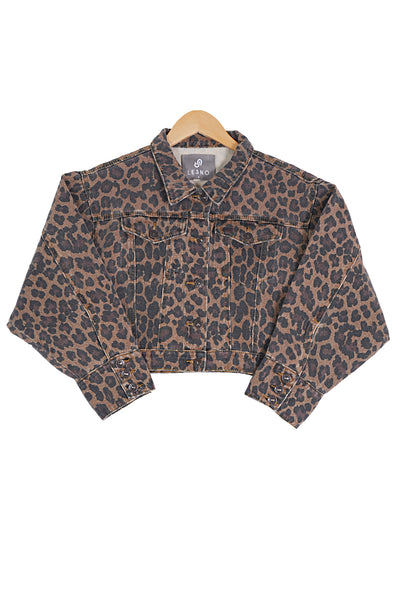 Womens Leopard Print Cropped Denim Jean Jacket (WJC4902)