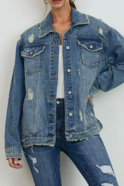 Womens Oversized Distressed Faded Boyfriend Denim Jacket with Pockets (WJC4930-PREORDER 2/07/2020)
