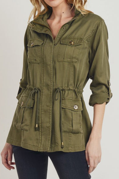 Womens Lightweight Cargo Long Sleeve Anorak Jacket with Drawstring Waist (WJC4931)