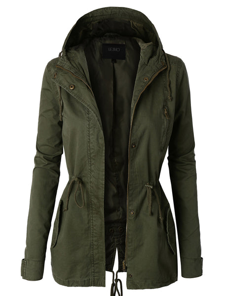 Womens Anorak Camo Jacket with Hood and Drawstring Waist (WJC872)