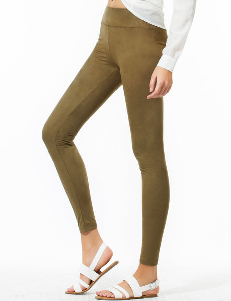 Womens Basic Stretchy Slim Fit Soft Suede Long Leggings Pants (WL4248)