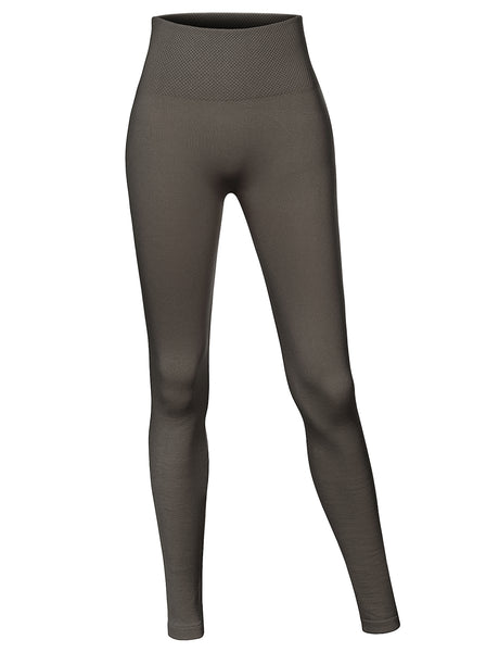 Womens Basic High Waisted Ankle Length Ultra Soft Fleece Lined Seamless Leggings (WL4280)