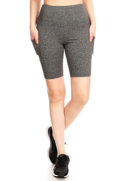Womens Active Tummy Control Sports Biker Shorts With Side Pockets (WL4594)