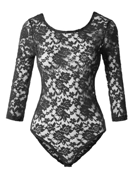 Womens Sexy Floral Lace Sheer See Through 3/4 Sleeve Bodysuit Jumpsuit (WRJ3756)