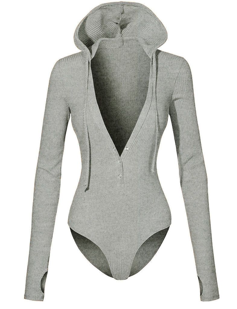 1c502a946c LE3NO PREMIUM Womens Long Sleeve Thumb Hole Thermal Ribbed Knit Henley  Hoodie Bodysuit (WRJ4234)