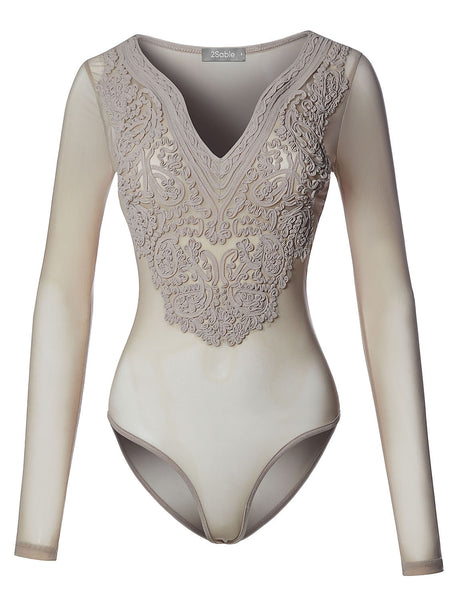 Womens Sexy Semi Sheer Fitted V Neck Long Sleeve Floral Design Mesh Bodysuit (WRJ4251)