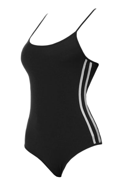 Womens Stretchy Striped Camisole Bodysuit with Adjustable Straps (WRJ4398)