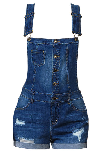 Womens Vintage Distressed Denim Overall Shorts with Rolled Cuffs (WRJ4442)