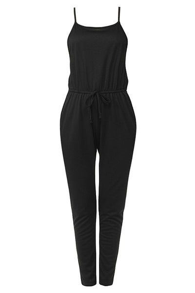 Womens Ankle Length French Terry Camisole Romper Jumpsuit Pants (WRJ4452)