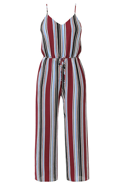 Womens Multi Striped Camisole Romper Jumpsuit with Adjustable Shoulder Straps (WRJ4454)