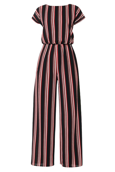 Womens Multi Striped Wide Leg Dolman Short Sleeve Romper Jumpsuit with Tie Back (WRJ4484)