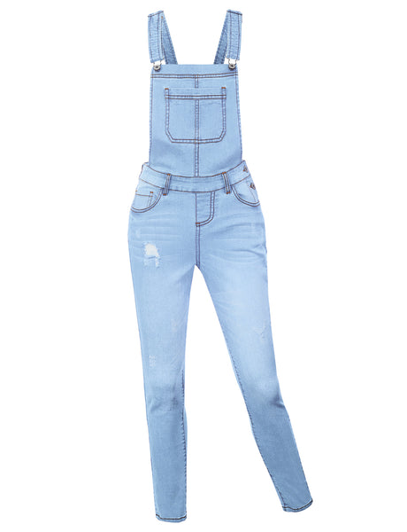 Womens Classic Cotton Distressed Skinny Denim Overall Pants with Pockets (WRJ4698)