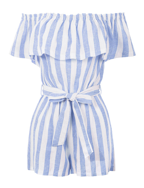 Womens Summer Linen Striped Off Shoulder Flounce Ruffle Belted Romper Jumpsuit (WRJ4699)