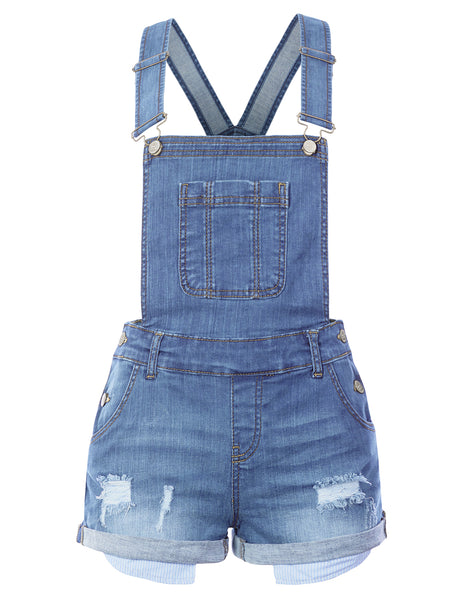 Womens Classic Distressed Ripped Denim Overall Shorts with Rolled Cuff Hem (WRJ4708)
