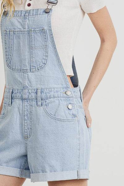 Womens Classic Blue Denim Mom Fit Overall Short with Rolled Cuff (WRJ4948)