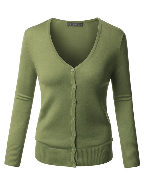 Womens Plus Size Fitted 3/4 Sleeve V Neck Fine Knit Cardigan (WSK1710P)