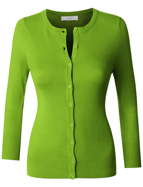 Womens Fitted 3/4 Sleeve Round Neck Fine Knit Cardigan (WSK1711)