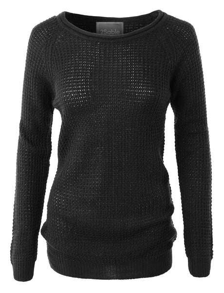 Womens Plus Size Casual Round Neck Waffle Knit Pullover Sweater Top (WSK2008-P)