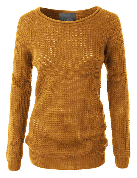 Womens Casual Round Neck Waffle Knit Pullover Sweater Top (WSK2008)