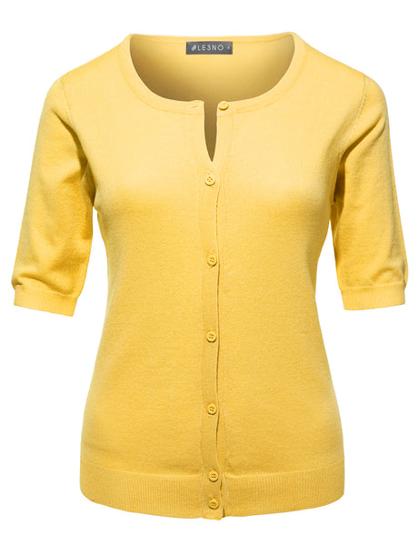 Womens Fitted Short Sleeve Fine Knit Cardigan (WSK2751)
