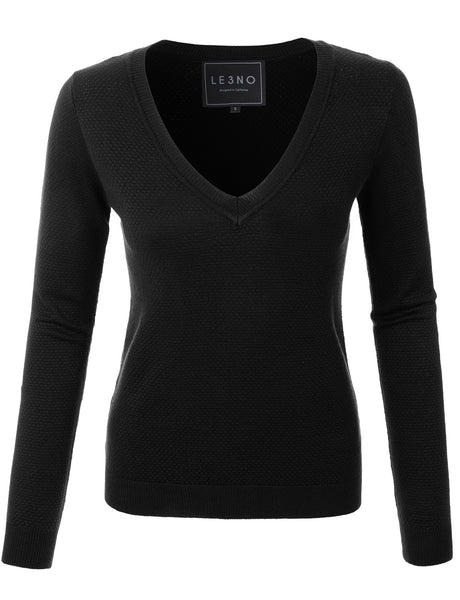 Womens Lightweight Slim Fit V Neck Long Sleeve Knitted Sweater Top (WSK3078)