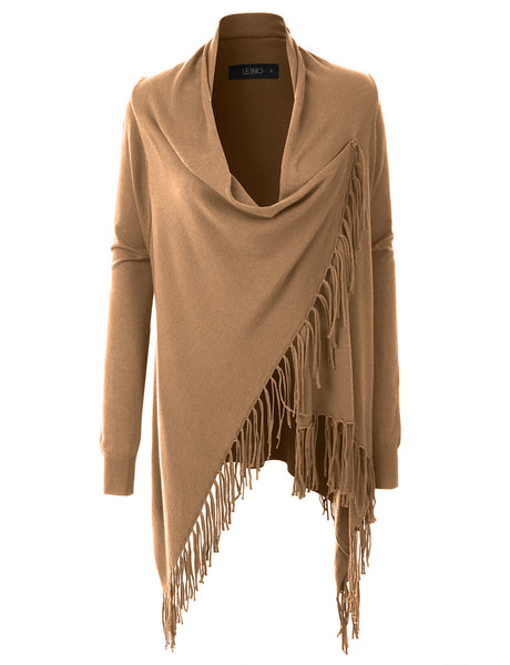 Womens Long Sleeve Fine Knit Poncho Wrap Cardigan with Fringed Hem (WSK3107)