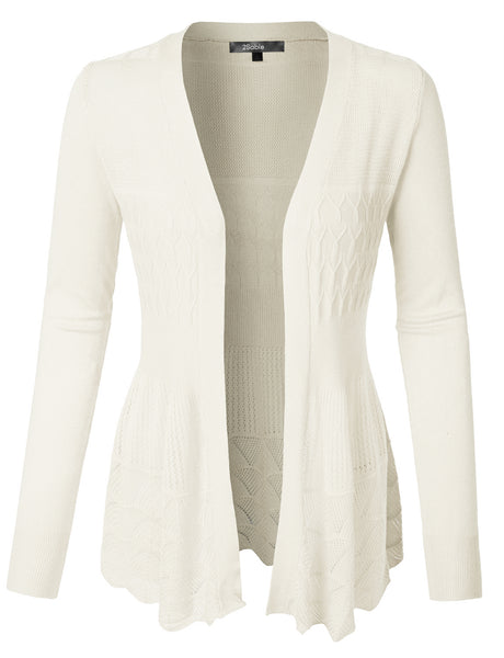 Womens Cut Out Crochet Scalloped Hem Open Knitted Cardigan (WSK3353)