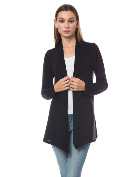 Womens Long Sleeve Open Front Hi Low Shrug Cardigan (WSK3503)