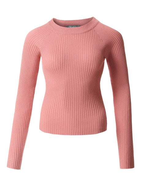 Womens Fitted Soft Ribbed Knitted Raglan Long Sleeve Boat Neck Top (WSK3647)